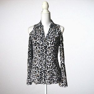 Cache Animal Print Long Sleeve Button Down
